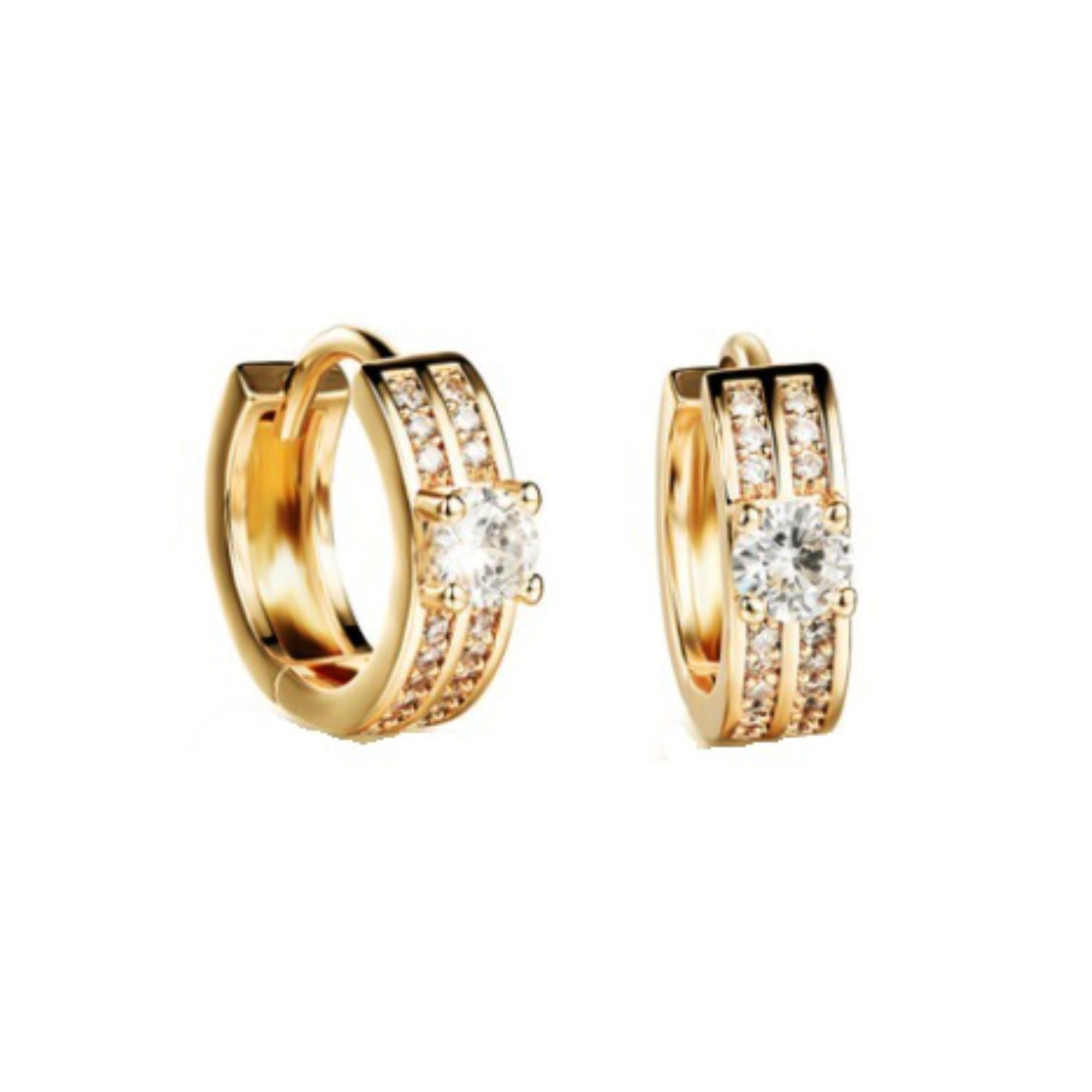 18K GP Cubic Zirconia Hoop Earrings