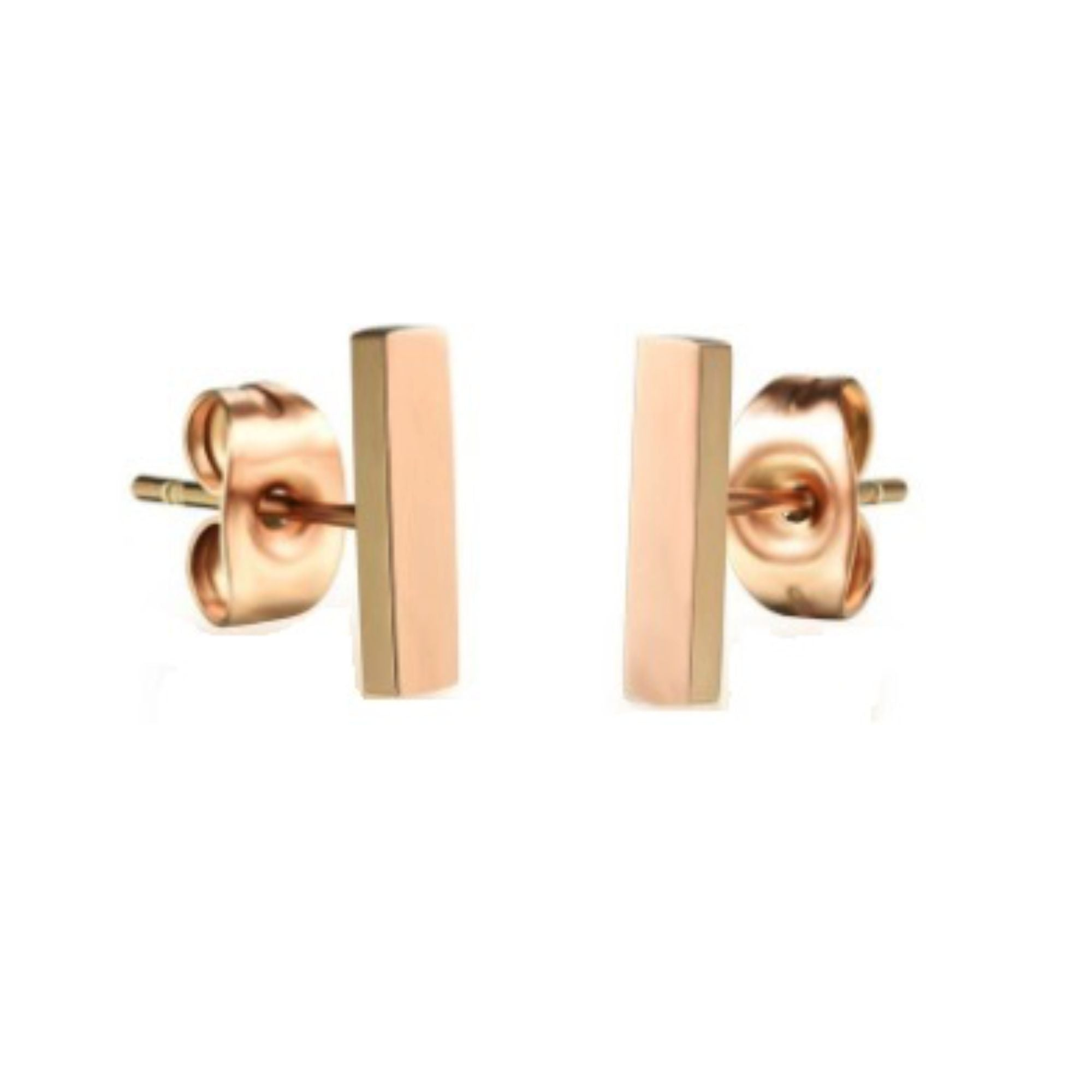 18K GP Rose Gold Titanium Stainless Steel Bar Stud Earrings