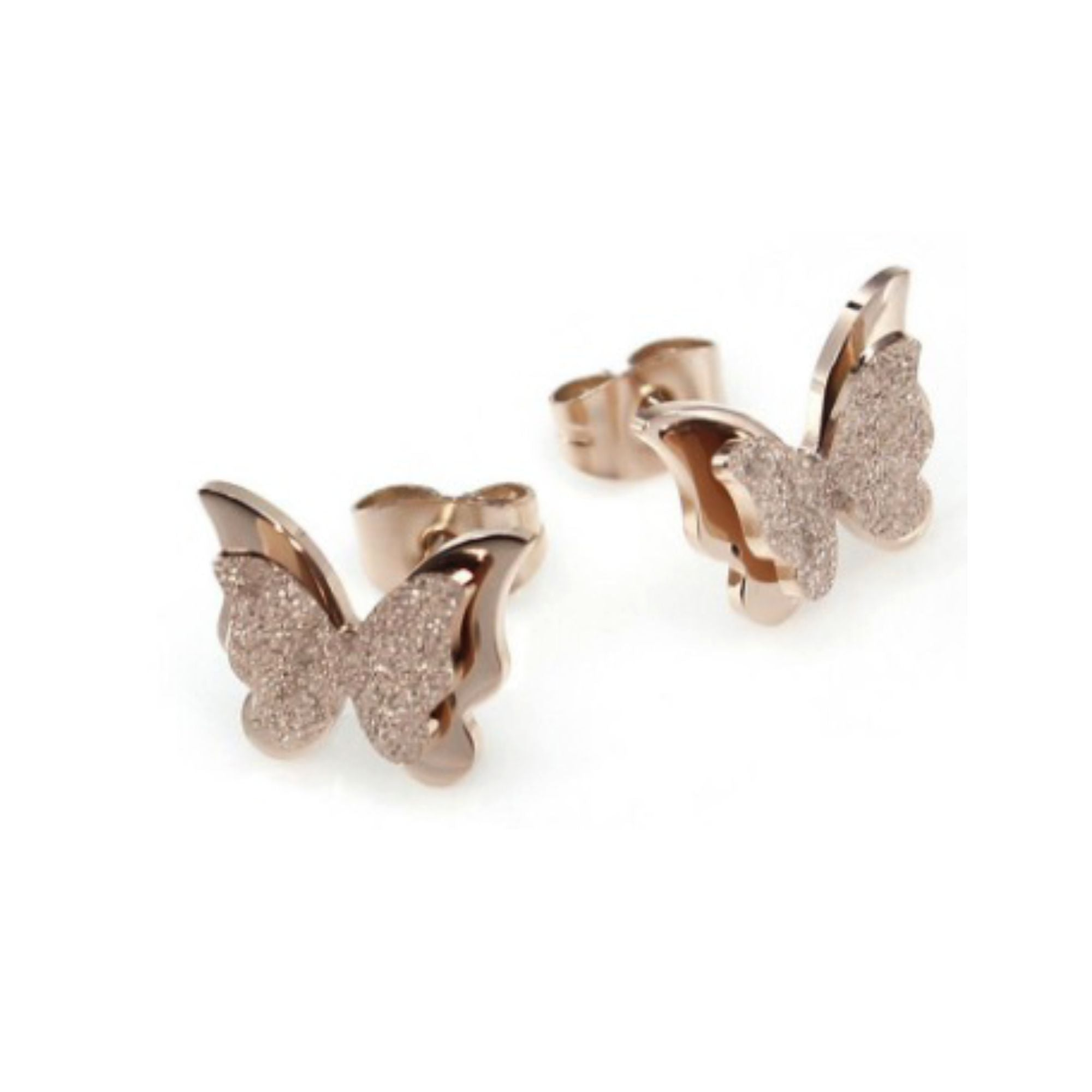 18K GP Rose Gold Titanium Stainless Steel Butterfly Stud Earrings