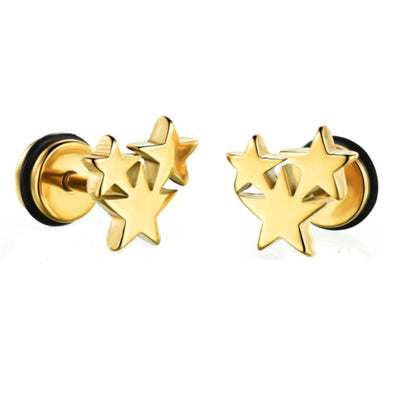 Titanium Stainless Steel Star Stud Earrings