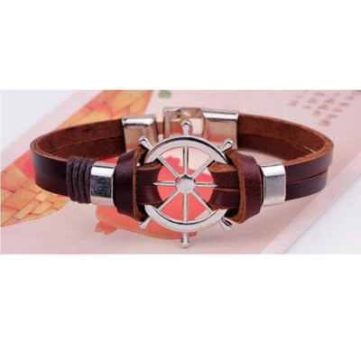 Wholesale Brown Boat Wheel Leather Alloy Bracelet - Ablaze Wholesale Jewelry