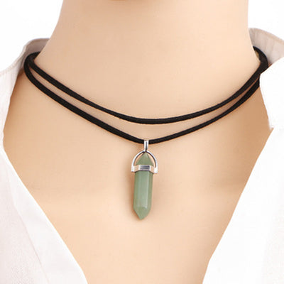 Crystal Pendant Natural Stone Gem Leather Rope Necklace