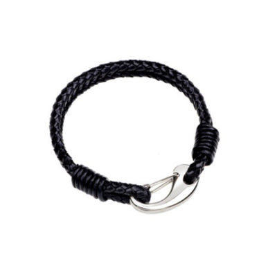 Wholesale Black Double Braided Black Leather Bracelet with Stainless Steel Clasp Bangle - Ablaze Wholesale Jewelry