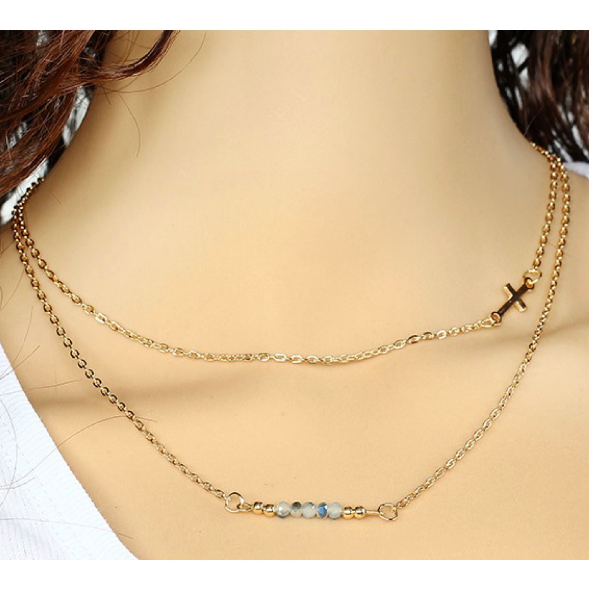 Double Layer BEAD Cross Fashion Necklace
