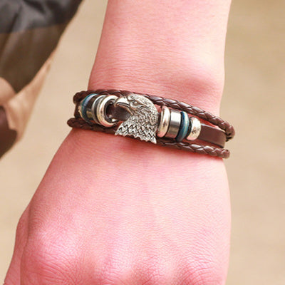 Eagle Head Multi-layer Leather Alloy Bracelet