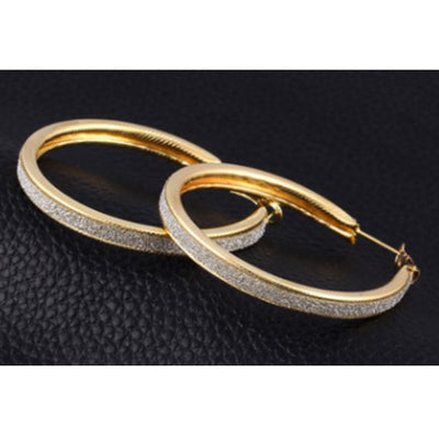 Wholesale Gold Frosted Hoop Fashion Earrings - Ablaze Wholesale Jewelry