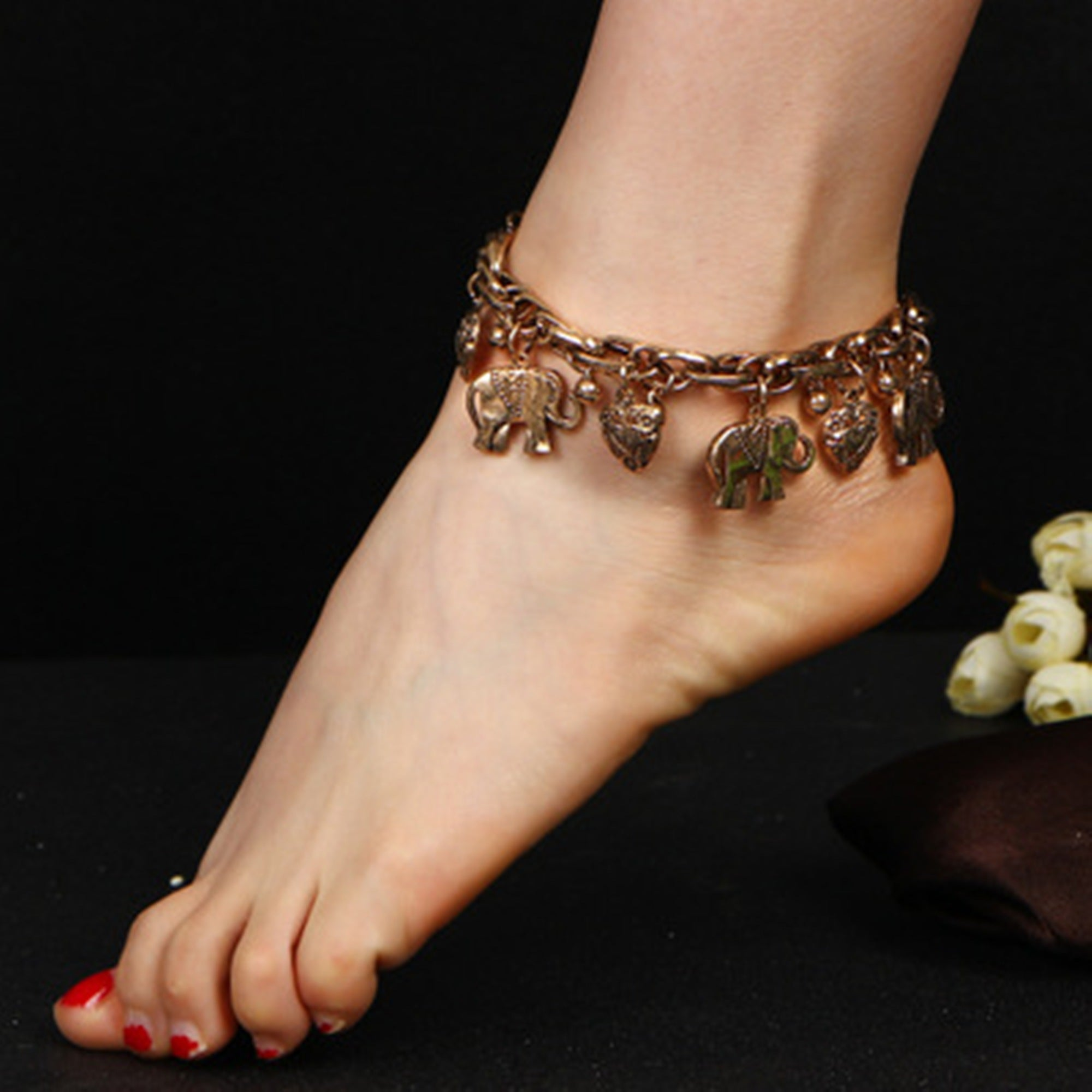 two puffed heart in tone com at yellow gold anklet ankle viomart bracelet