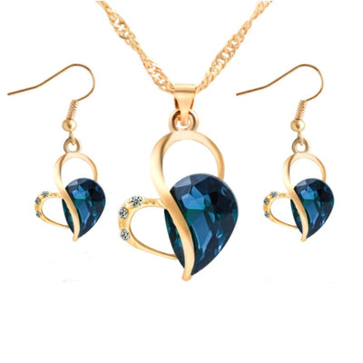 Wholesale Blue Heart Shaped Earring Necklace Set - Ablaze Wholesale Jewelry