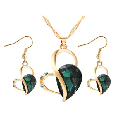 Wholesale Green Heart Shaped Earring Necklace Set - Ablaze Wholesale Jewelry