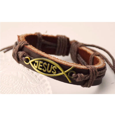 Wholesale Jesus Alloy Leather Cuff Bracelet - Ablaze Wholesale Jewelry