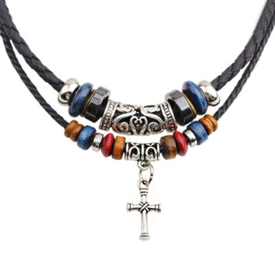 Leather Alloy Beaded Cross Necklace