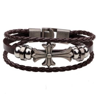 Multi-Layer Cross Religious Leather Alloy Bracelet