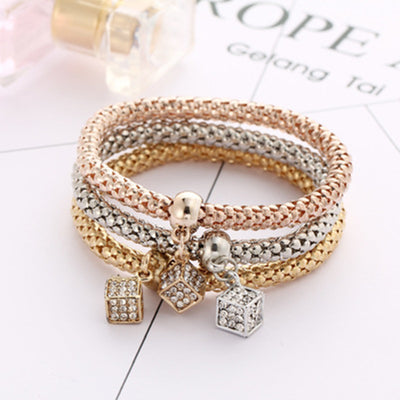 Multilayer Geometric Square Crystal Charm Stretch Bracelet