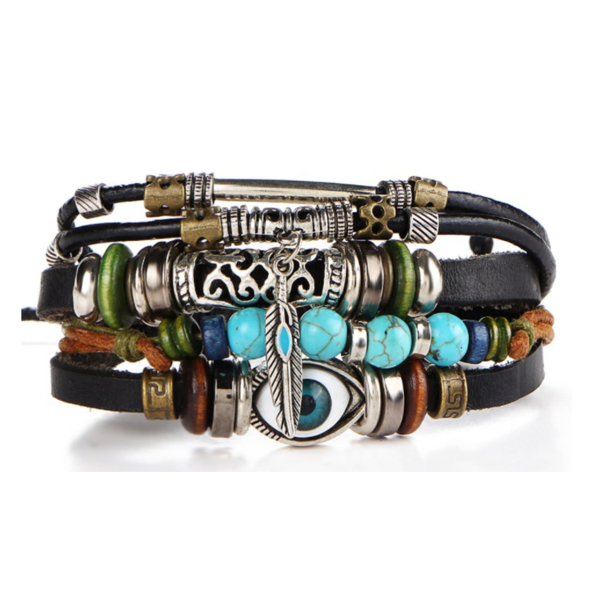 Multilayer Leather Alloy Evil Eye Cuff BRACELET