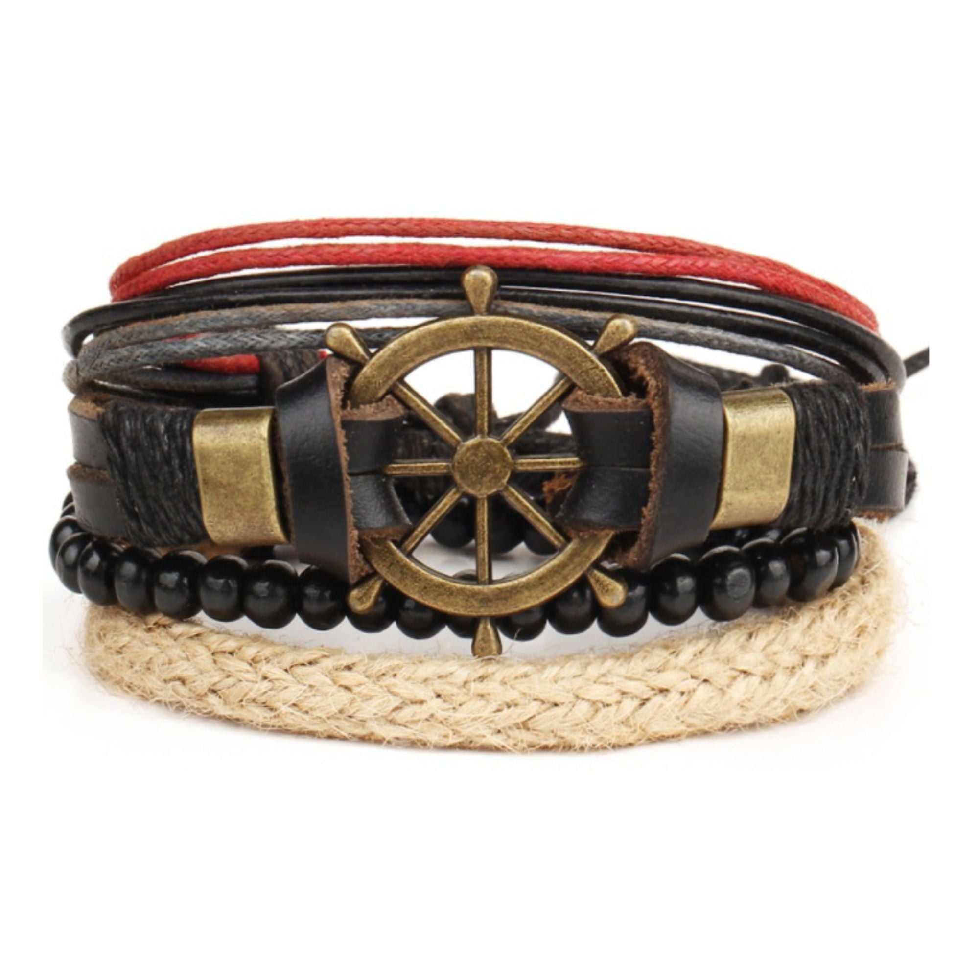 Multilayer Leather Alloy Rudder Cuff BRACELET