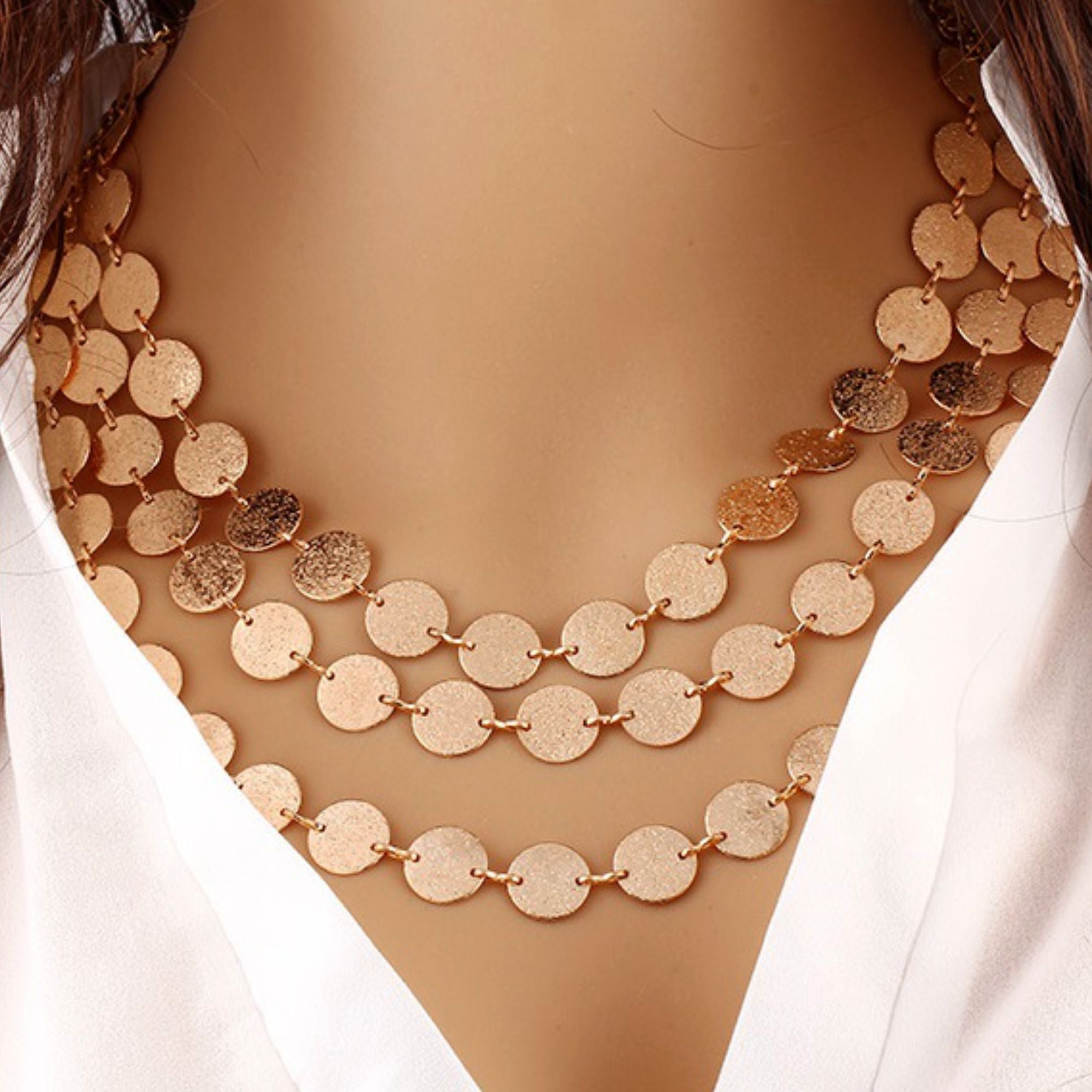 Multilayer Metal Coin Fashion NECKLACE