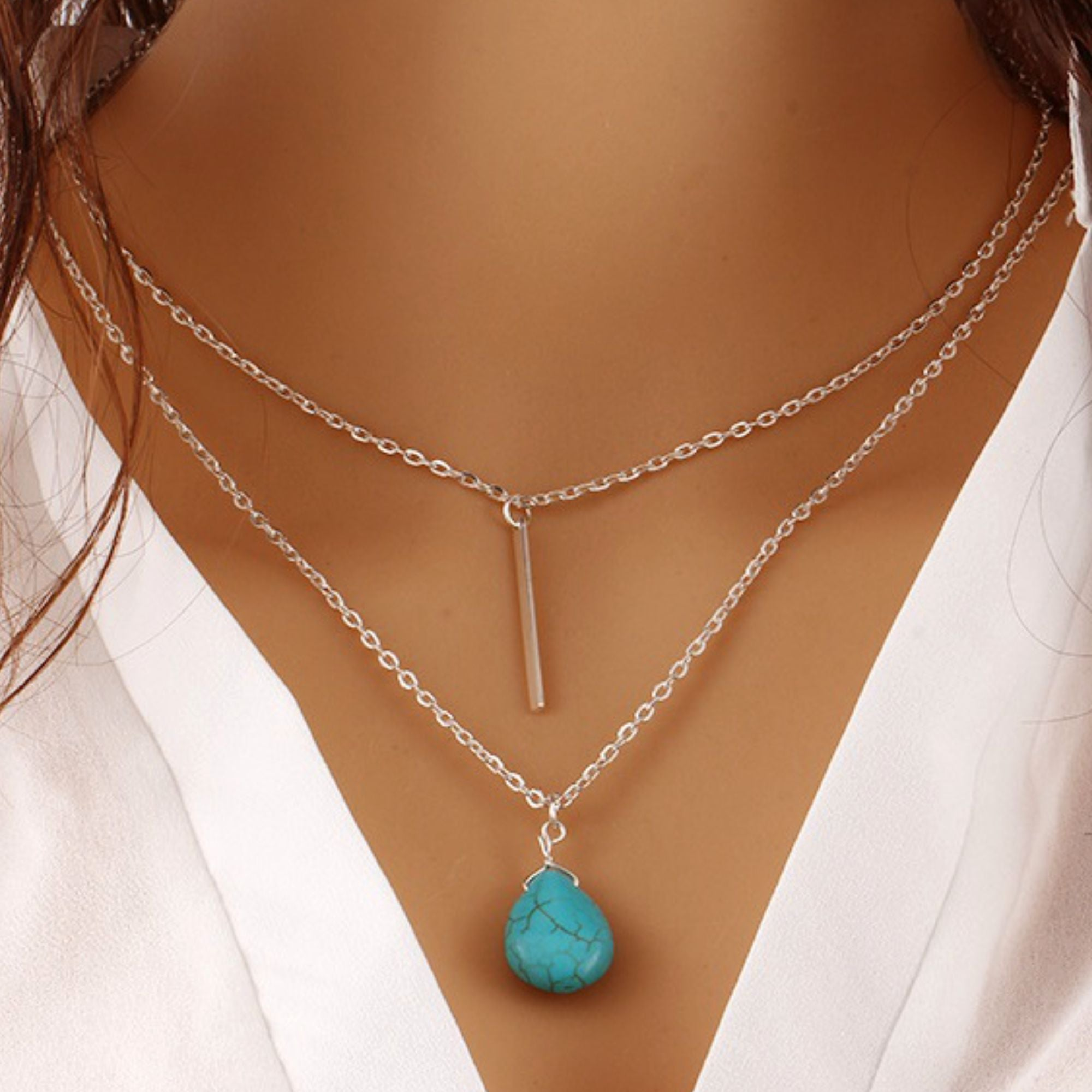 90c112c64992 Wholesale Multi layer Silver Bar Turquoise Water Drop Fashion Necklace -  Ablaze Wholesale Jewelry