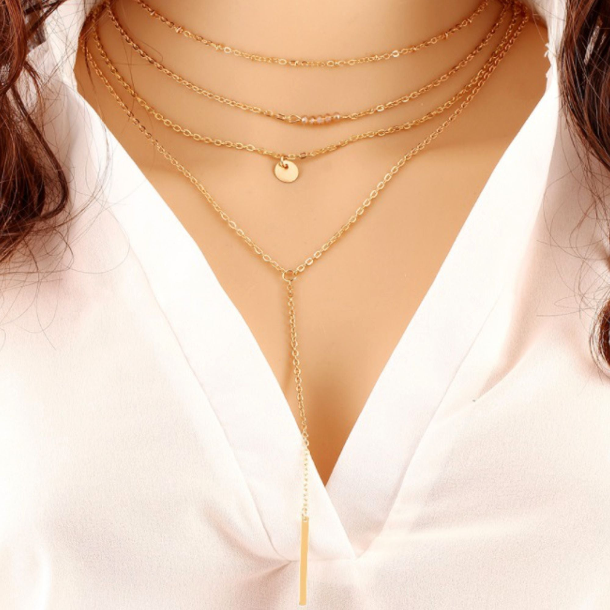 Multilayer Simple BEADS Bar Fashion Necklace