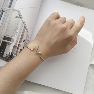 Open Curved EKG Bangle Bracelet