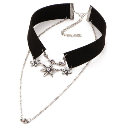 Wholesale PU Leather Crystal Star Multilayer Choker Necklace - Ablaze Wholesale Jewelry