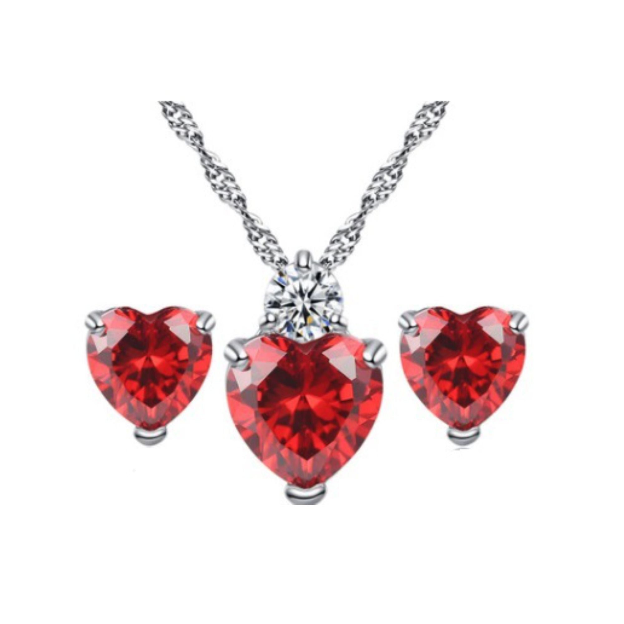 zircon red products wholesale crystal sets ablaze earrings heart set jewelry necklace