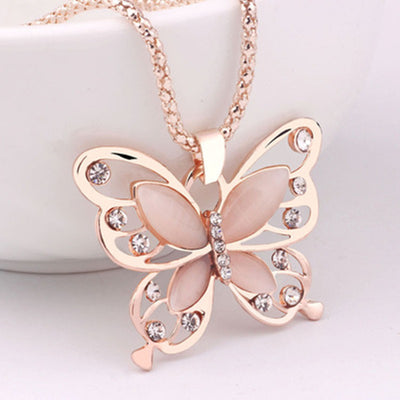 Rose Gold Opal Butterfly Charm Pendant Long Necklace