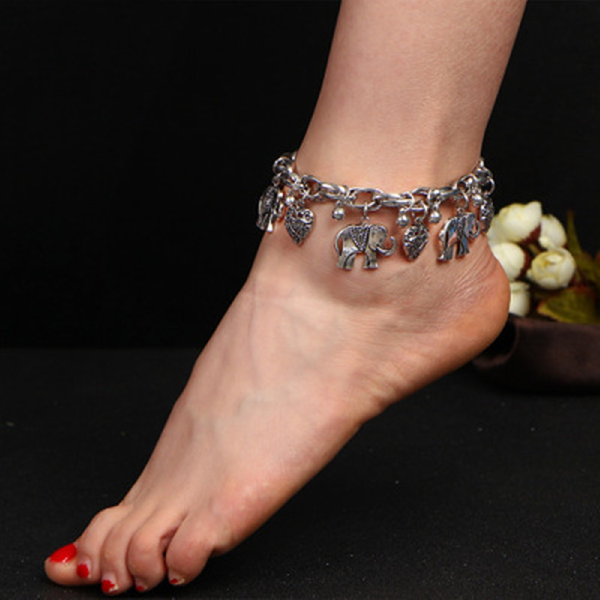 diamond sterling bracelet co on accent palm gold ankle jewellery dp ring amazon set silver anklet toe beach uk jewelry