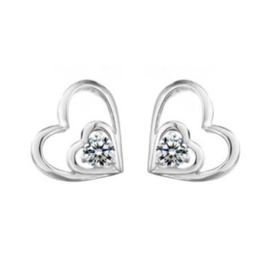 Wholesale Sterling Silver Double Heart Cubic Zirconia Earrings - Ablaze Wholesale Jewelry