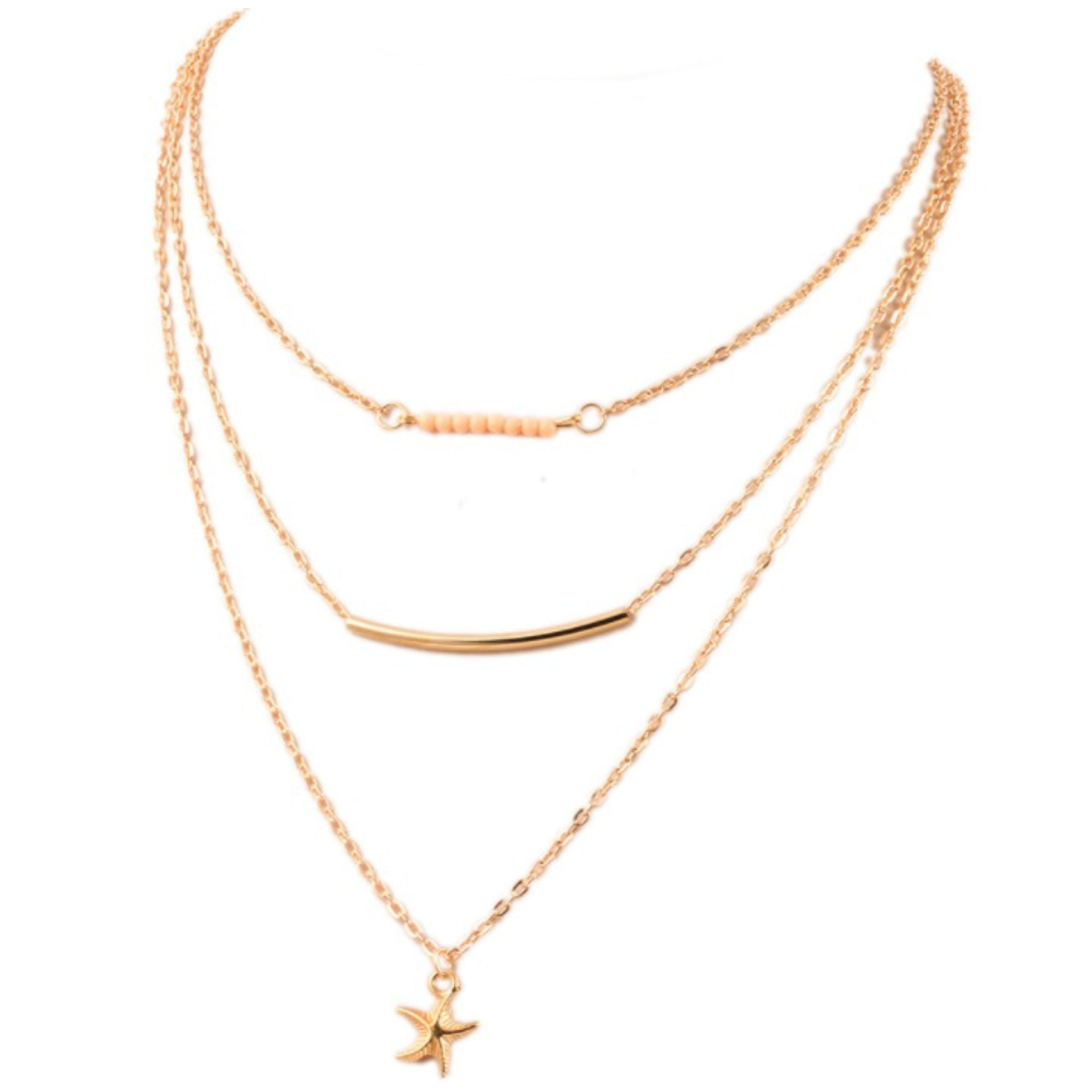 Wholesale fashion necklaces for retailers ablaze wholesale jewelry wholesale thin 3 layer bar star fashion pendant necklace ablaze wholesale jewelry aloadofball Image collections