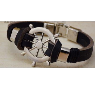 Wholesale Black Boat Wheel Leather Alloy Bracelet - Ablaze Wholesale Jewelry