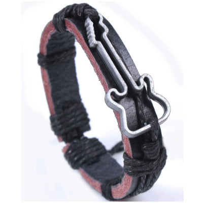 Wholesale Black Guitar Leather Alloy Bracelet - Ablaze Wholesale Jewelry
