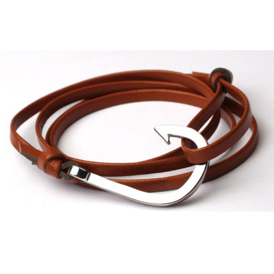 Leather Fish Hook Bracelet With Silver Hook