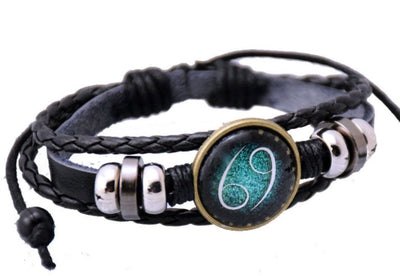 Constellation Zodiac Sign Charm Leather Alloy Cuff Bracelet