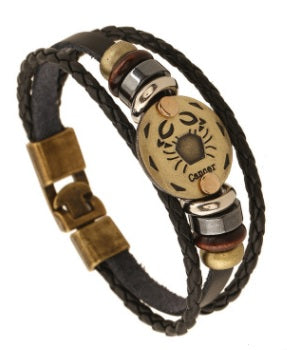 Constellation Zodiac Round Pendant Leather Bangle Bracelet