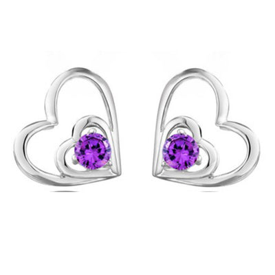 Sterling Silver Double Heart Cubic Zirconia Earrings