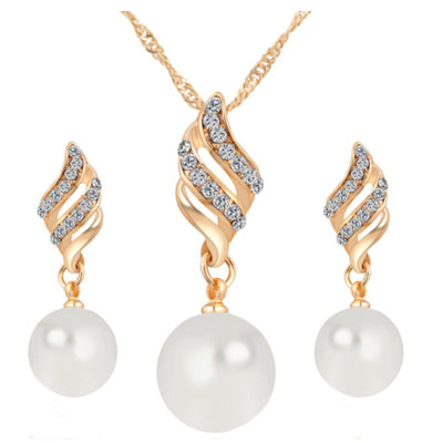 Wholesale Rhinestone Pearl Necklace Earrings Set - Ablaze Wholesale Jewelry