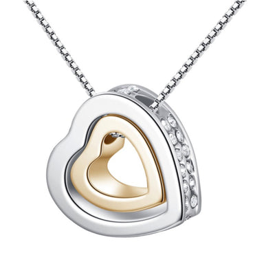 Double Love Heart Pendant Necklace