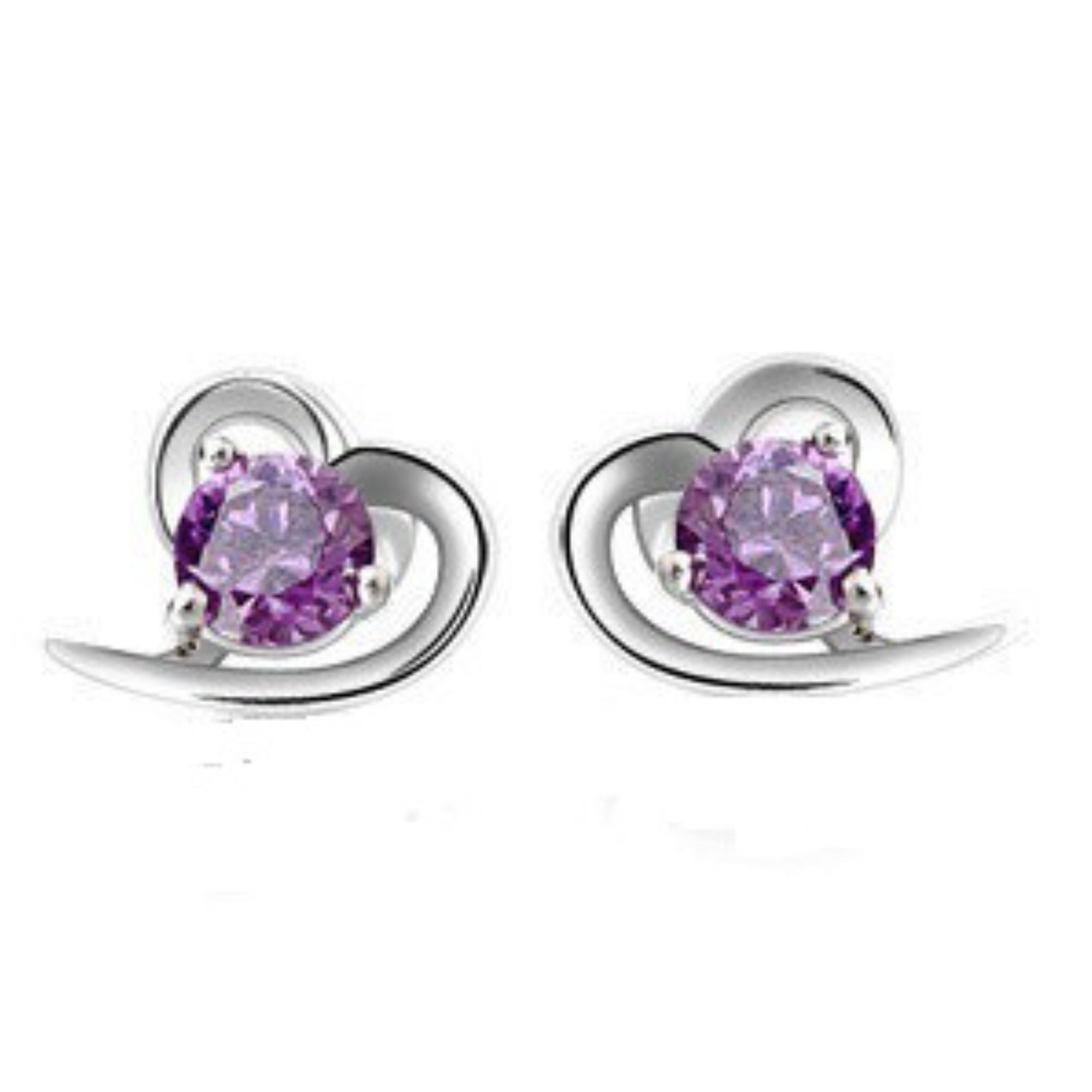 Heart Shaped Amethyst STUD EARRINGS Inlaid Sterling Silver Plated