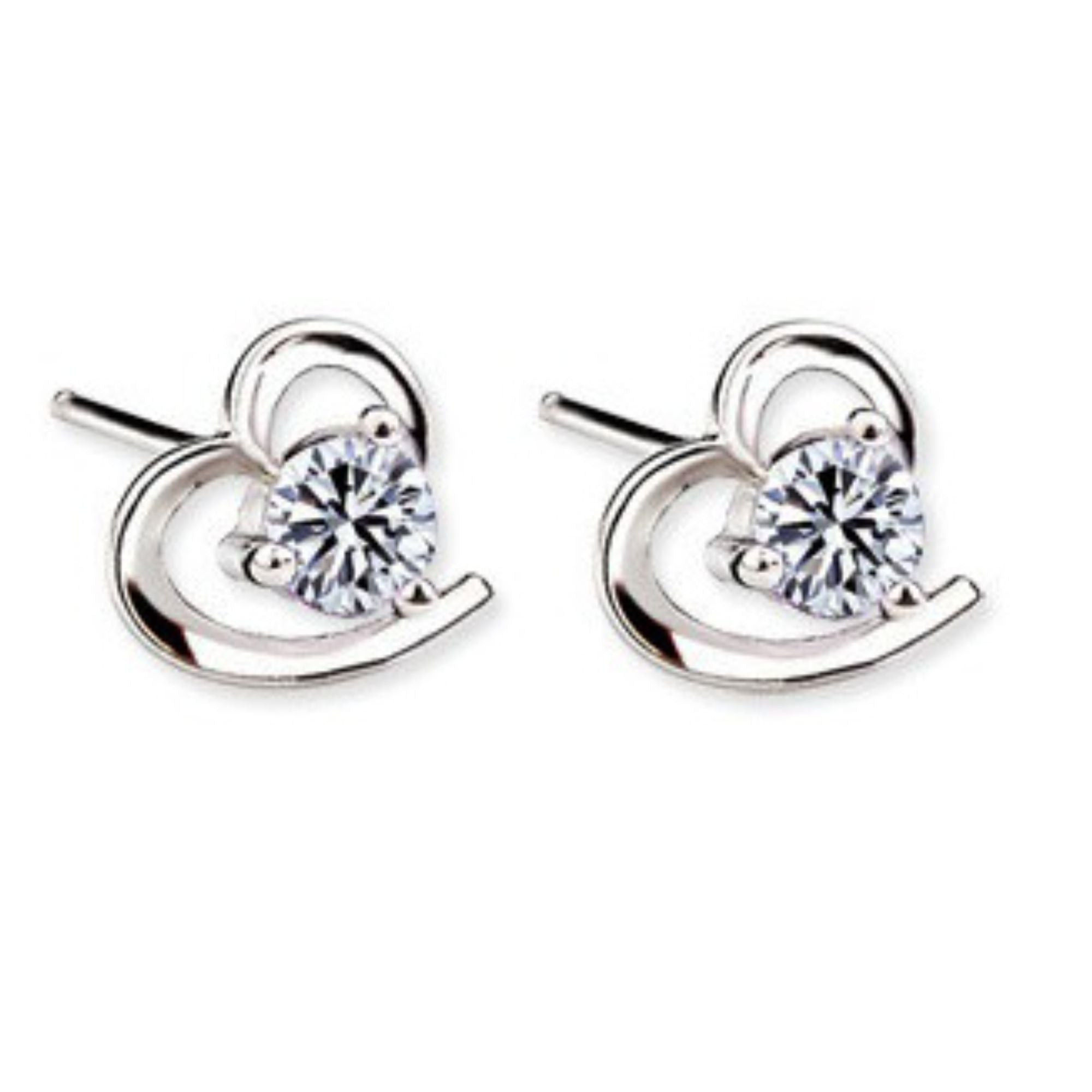 us diamante silver lovemystyle detail earrings shaped heart with