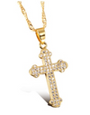 Gold Cross Diamond Cubic Zirconia Inlaid Pendant Necklace