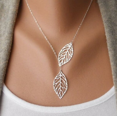 Gold Pendant Statement Leaf Charm Choker Necklace