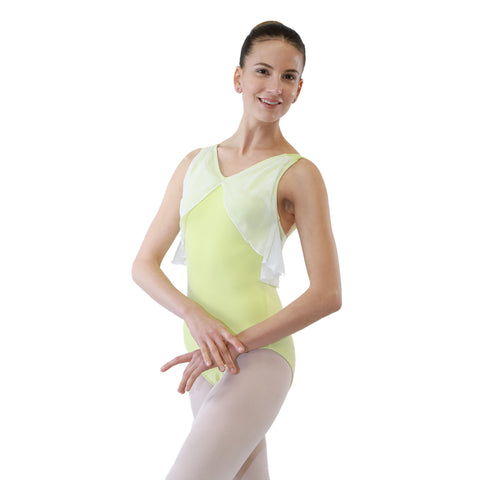 NAMI V Neck Tank Low Back Mesh Dance Leotard