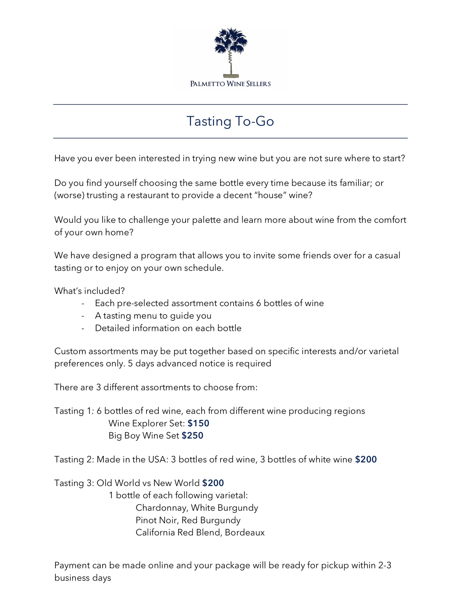Tasting To-Go program details