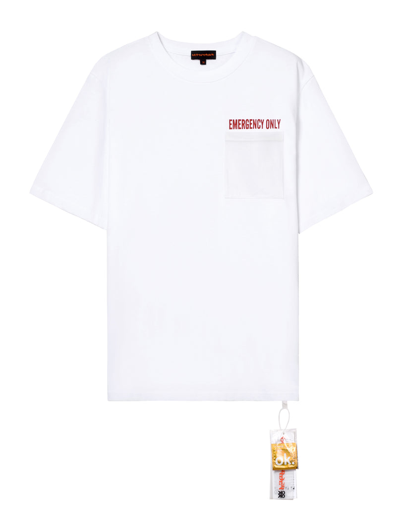 """EMERGENCY ONLY"" WHITE TEE"