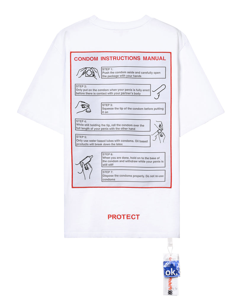 """CONDOM INSTRUCTIONS MANUAL"" WHITE TEE"