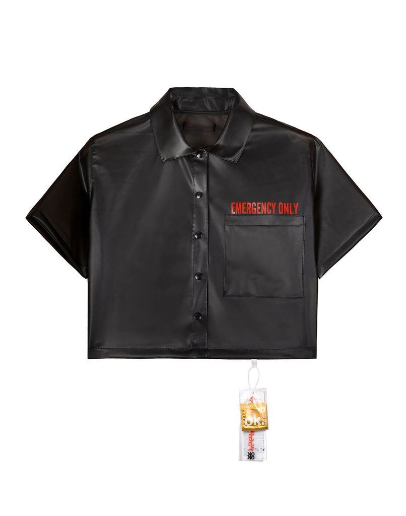 """EMERGENCY ONLY"" BLACK SEMI SEE-THROUGH SHIRT (FEMALE)"