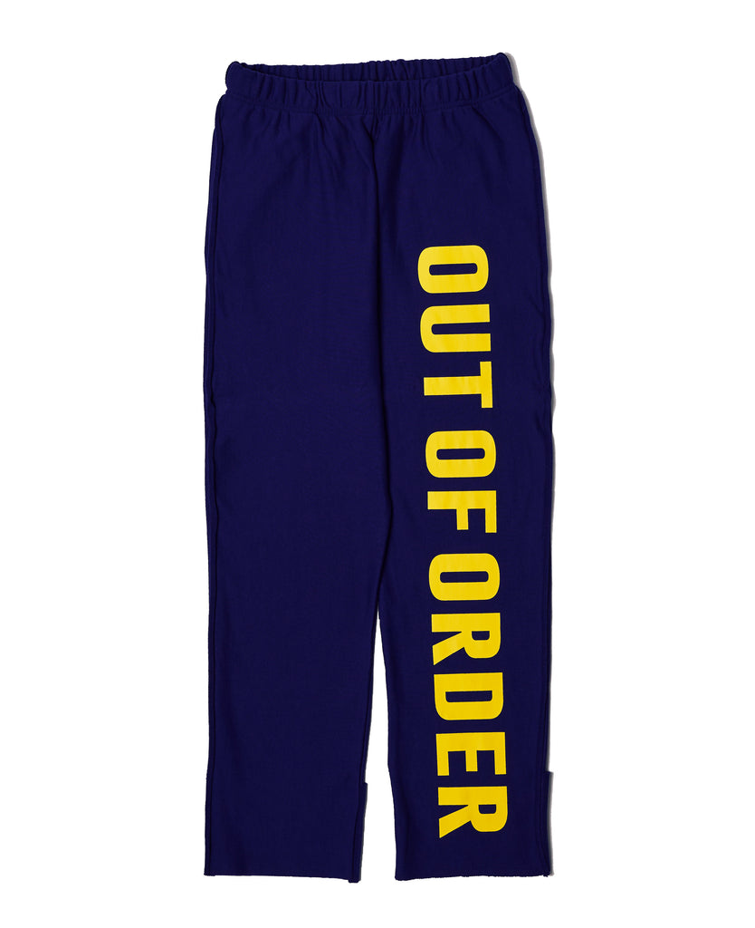 JOGGER PANTS IN BLUE WITH YELLOW WORDS