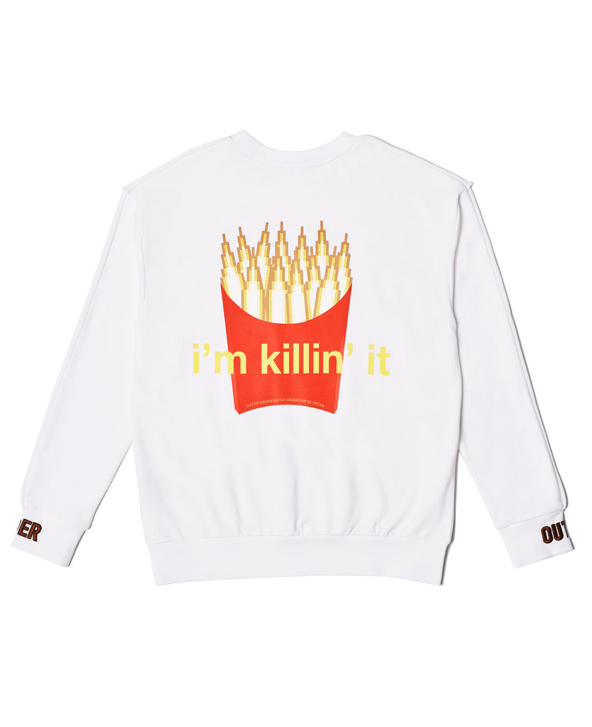 """I'm KILLING IT"" SWEATER IN WHITE"