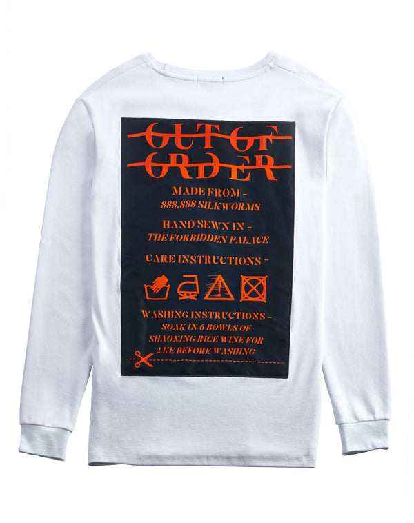 """WASHING INSTRUCTIONS"" WHITE SWEATER"