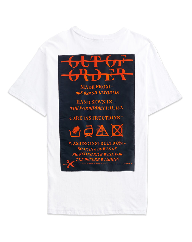 """WASHING INSTRUCTIONS"" WHITE TEE"